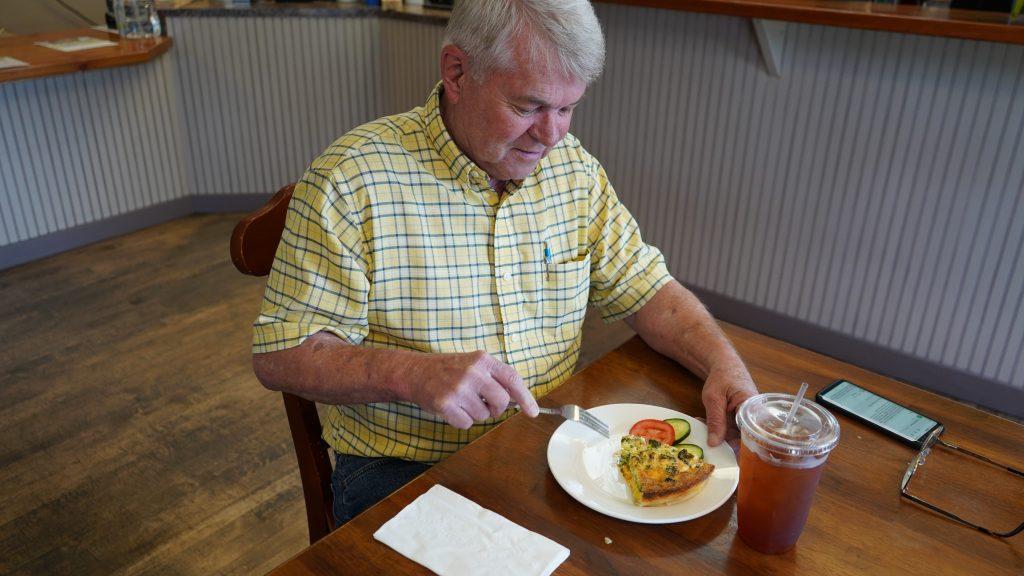 Bob eating a delicious quiche